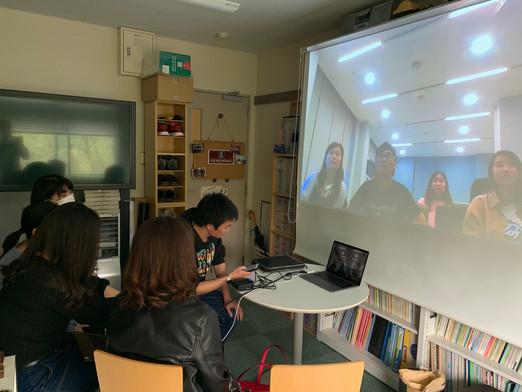 マカオ大学学生とのスカイプミーティング(全体会)