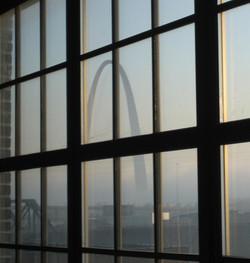 Arch through south window