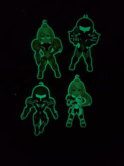 Glow in the Dark Metroid Charms