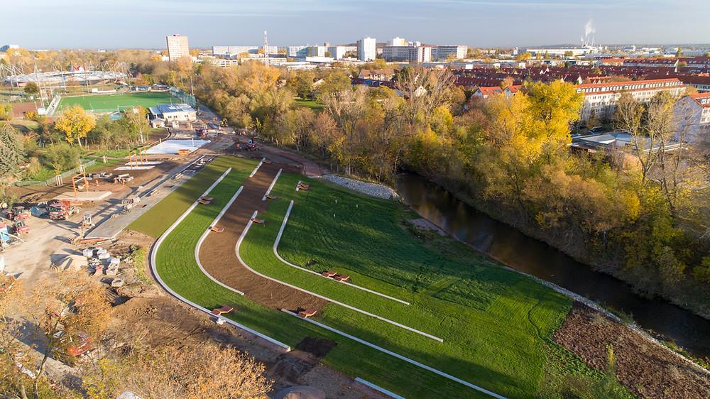 Luftaufnahme einer Parklandschaft