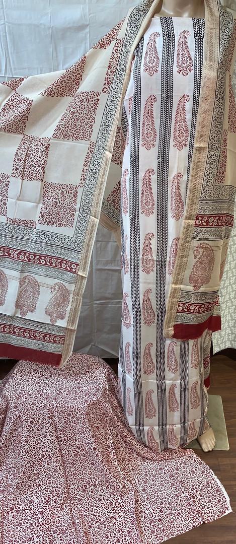 Bagh Print Modal Silk Suit.
