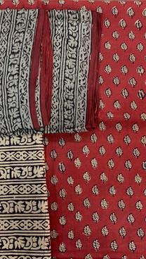 Bagh Print Cotton Suit with Chiffon Dpt.