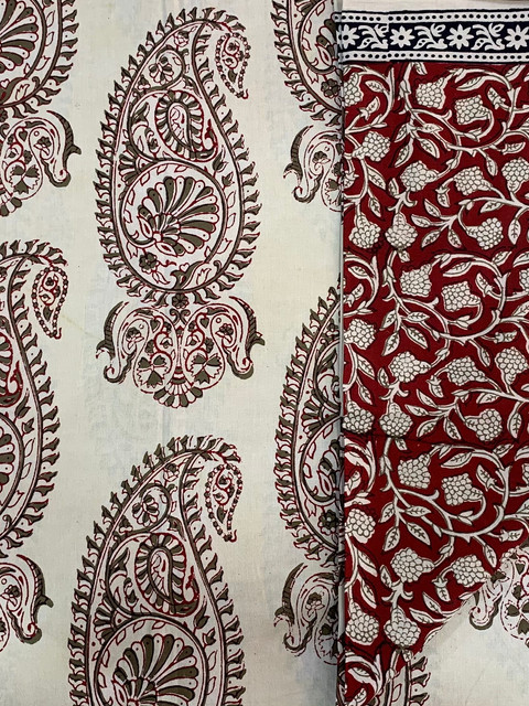 Bagh print cotton suit.