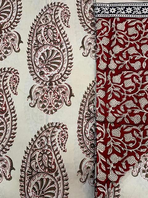 Bagh print cotton suit.