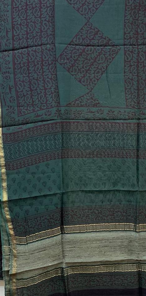 Bagh Print Maheshwari Silk Suit.