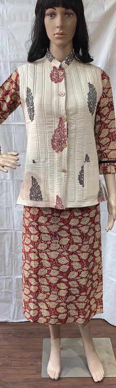 kalamkari kurti with bagh jacket