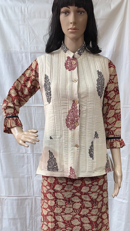 KALAMKARI COTTON KURTI with BAGH PRINT JACKET