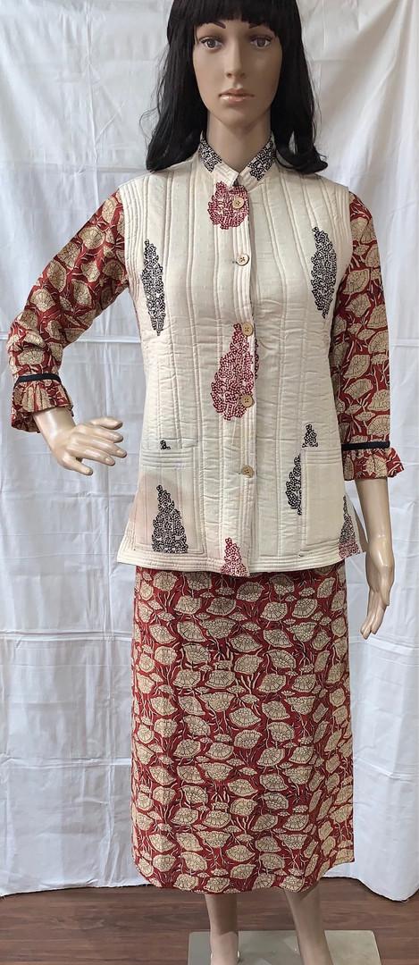 kalamkari kurti with bagh jacket