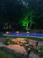 Stone garden around pool