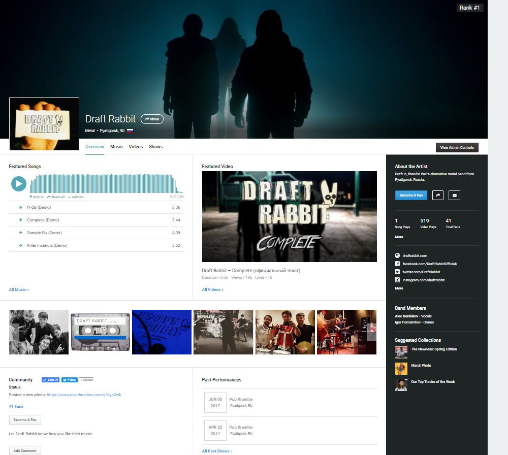 Draft Rabbit на Reverbnation