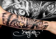 Kingz Ink Tattoo halb Tiger halb Mensch