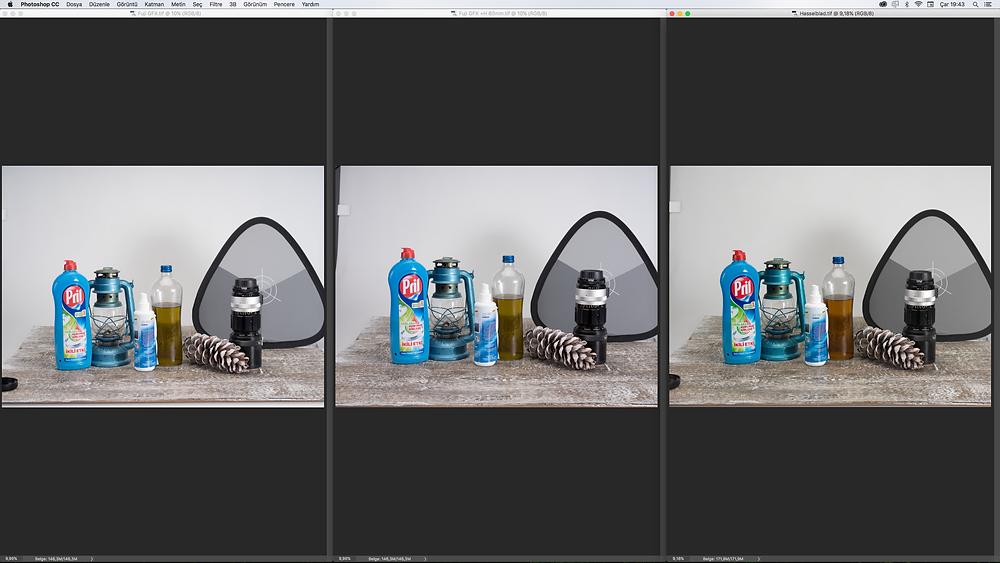 Solda Fujifilm GFX 50s ve 63mm lens, ortada Fujifilm GFX 50s üzeride H adaptörü ile Hasselblad 80mm  ve sağda ise Hasselblad H4D-60 ve üzerinde H 80mm