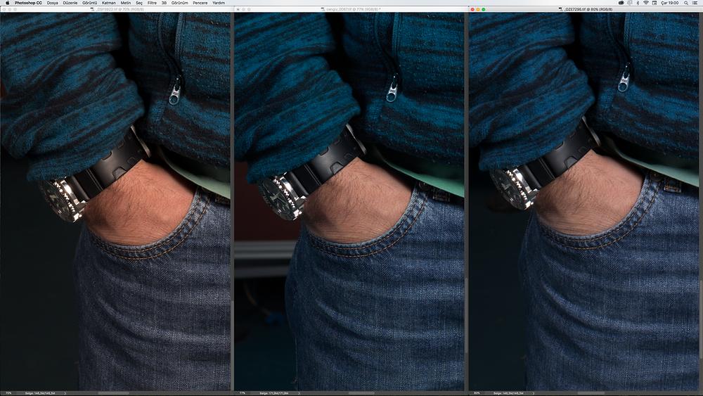 solda Fujifilm GFX 50s, ortada Hasselblad H4D-60 ve sağda Pentax 645z.