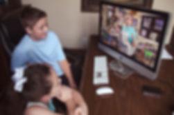 children watching video