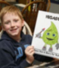 child holding artwork