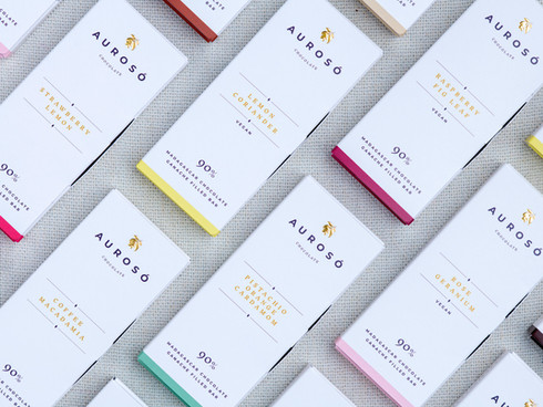 Aurosó Chocolate brand identity case study. Packaging, website and branding