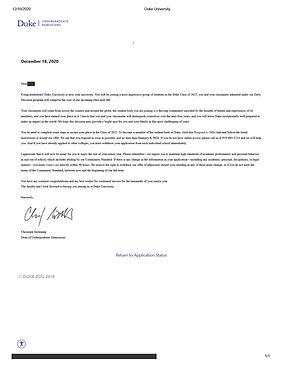 Duke University Admit Letter