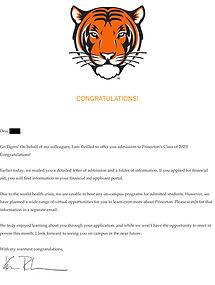 Princeton Admissions Letter