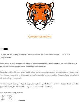Princeton Admit Letter