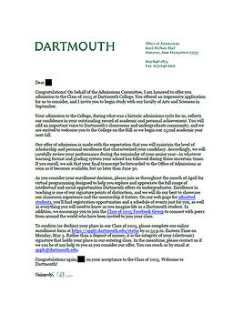 Dartmouth Admit Letter
