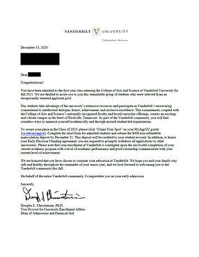 Vanderbilt University Early Decision Admit Letter
