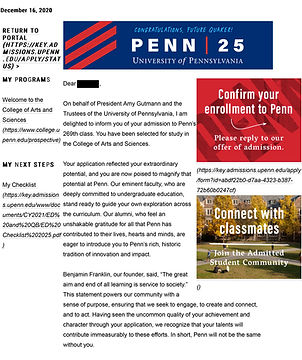 University of Pennsylvania Admit Letter