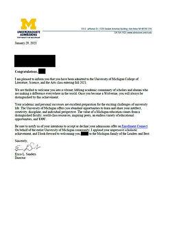 UMichigan Admissions Letter