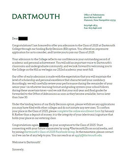 Dartmouth College Admissions Letter