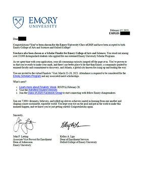 Emory University Admit Letter