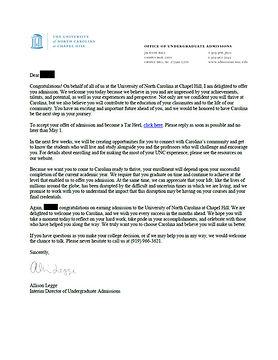 University of North Carolina - Chapel Hill Admit Letter #2