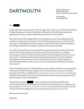 Dartmouth University Admit Letter