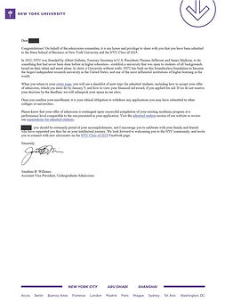 New York University Admittance Letter