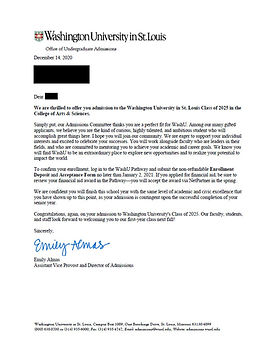 Washington University in St. Louis Admissions Letter
