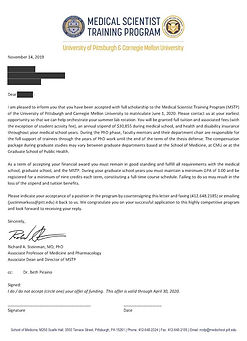 Carnegie Mellon University Acceptance Letter