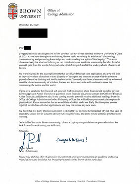 Brown University Admit Letter