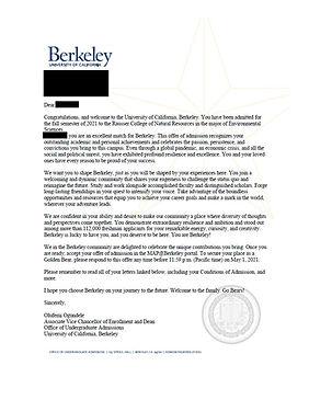 UC Berkeley Admit Letter