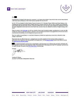 New York University (Stern) Admit Letter