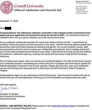 Cornell University Admit Letter