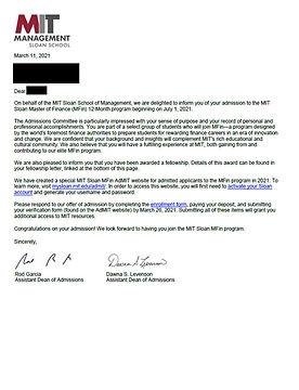 MIT Sloan Admit Letter