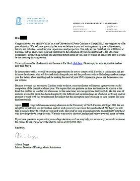 University of North Carolina - Chapel Hill Admit Letter