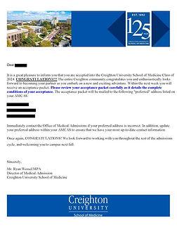 Creighton University School of Medicine Acceptance Letter
