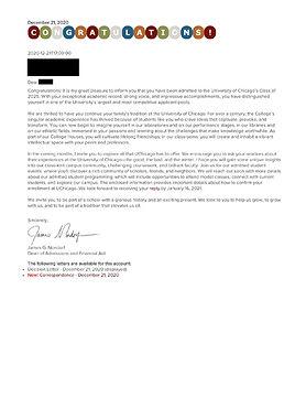 University of Chicago Admission Letter