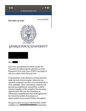 Georgetown University Admit Letter
