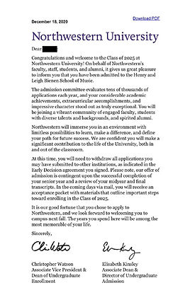 Northwestern University Admissions Letter