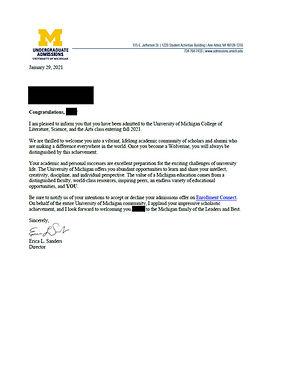 University of Michigan Admit Letter