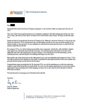 University of Virginia Admissions Letter