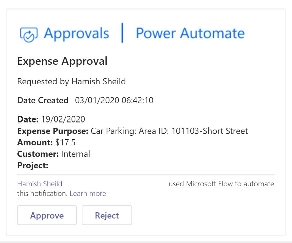 Microsoft Teams Adaptive Card Approval