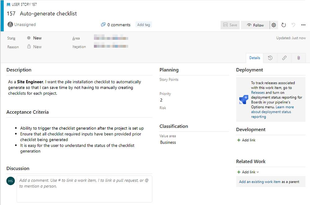 Example User Story in Azure DevOps
