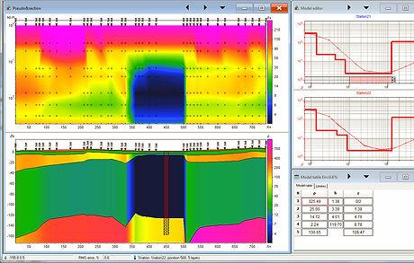 Обработка данных электрического зондирования