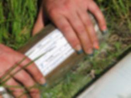 Наклейка этикетки на образец грунта